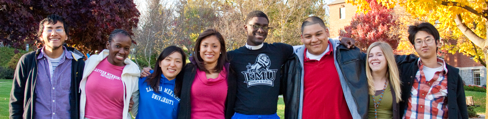Multicultural students gather together on campus at Eastern Mennonite University, a Christian college in Virginia