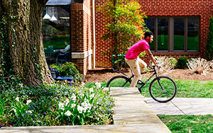 student on a bicycle