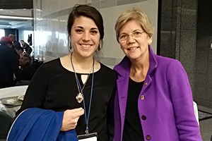 EMU student Sara Ritchie and Senator Elizabeth Warren