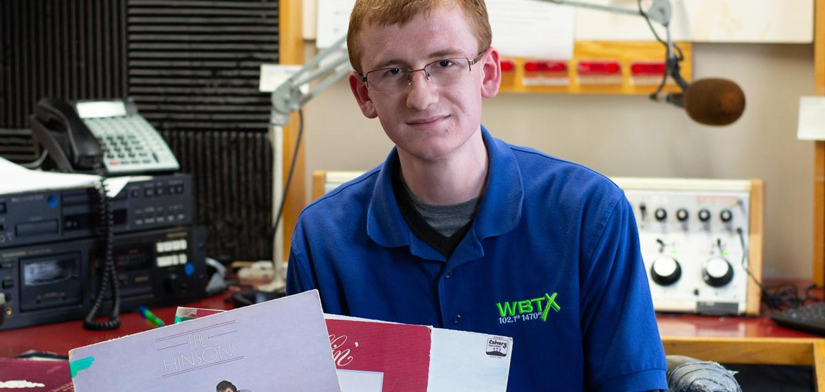 Digital Media Major Chris Runion works part-time at a local radio station
