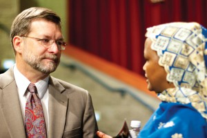 Fred Kniss '79, PhD, with Dekha Ibrahim Abdi, who has been both a student and teacher at EMU