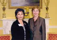 Suraya Sadeed, MA '12 (conflict transformation), the founder and executive director of Help the Afghan Children, was a guest of First Lady Laura Bush at the White House in 2005, returning in 2006 as a participant at an event hosted by both Laura and George Bush.