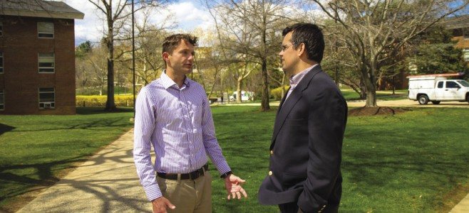 Chris Ehrhart (left), who holds a masters in conflict transformation from EMU, answers in his work to Josh Bacon, director of James Madison University's Office of Judicial Affairs. Bacon took courses with EMU's Howard Zehr and felt inspired to introduce restorative disciplinary practices to JMU, making it a pioneer in moving the culture of discipline on U.S. campuses away from a largely punitive approach.