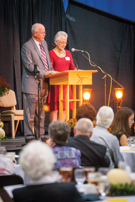 Charlotte and Henry Rosenberger reflect at EMU's annual donor appreciation banquet on Oct. 10, 2014