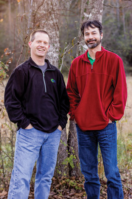 Paul Shelly (left) and Kevin Baer first got to know each other living on the first floor of Oakwood dormitory. They then shared a house in Meridian, Mississippi. Now they live 900 miles from each other, but share ownership of a business, Educational Software Solutions.