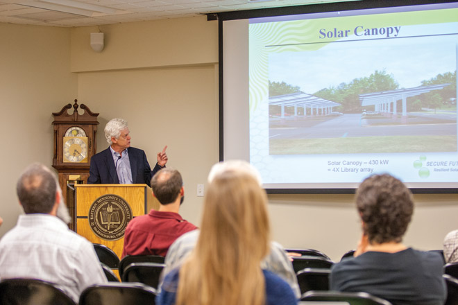 Eastern Mennonite University and Secure Futures, LLC – led by Anthony Smith, PhD (pictured) – have announced plans for a second solar array on campus, operational by the summer of 2015. (Photo by Michael Sheeler)