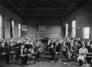 A gathering inside the exercise hall of Eastern Mennonite