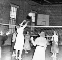 Volleyball inside the exercise hall of Eastern Mennonite