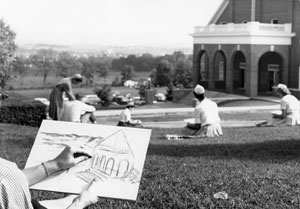 Drawing on campus lawn