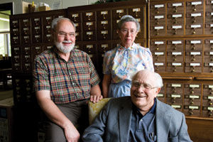 Three EMU history buffs who assisted with this series of 90th anniversary articles: Harold Huber, acting historical archivist at the Sadie Hartzler Library; Lois Bowman '60, librarian at the Menno Simons Historical Library; and Hubert R. Pellman '38, retired English professor and author of Eastern Mennonite College, 1917-1967.