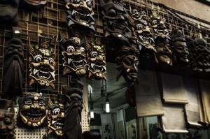 Masks in a Beijing market alley  -Jonathan Drescher-Lehman