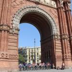 Biking through Barcelona, Spain by the Arc de Triomf. Photo by: Taylor Waidelich