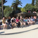 Sitting on the longest bench in the world in Park Guell, Barcelona, Spain. Photo by: Taylor Waidelich
