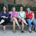 Annika, Becka, Holly, and Melinda resting during a visit to the Alhambra in Granada, Spain. Photo by: Taylor Waidelich