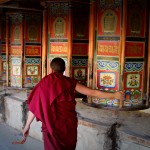 Spinning the prayer wheel Photo by Dylan A. Bomgardner