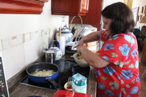 Our host mom making Spanish tortilla. Photo by: Taylor Waidelich