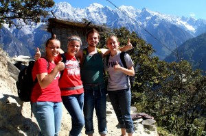 Malinda, Hattie, Dylan, and Nicole at Tiger Leaping Gorge photo by Dylan Bomgardner