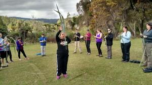 Jane Matthews demonstrating flax weaving.50