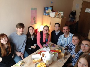 Professor Carl Stauffer with peer mediators from a secondary school in Russia. Stauffer traveled to Moscow, Russia, in April to meet with educators and students utilizing restorative justice principles in education settings. (Courtesy photo)