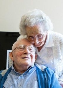 Hubert, 97, and Mildred Pellman, 98, residents of Virginia Mennonite Retirement Community, will celebrate their 75th wedding anniversary today. (Photo by Nikki Fox / DN-R)