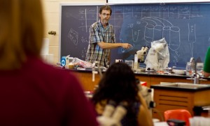EMU Biology Professor Douglas Graber-Neufeld during a science class.