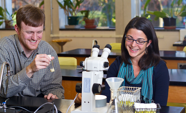 EMU Professor Jeffrey Copeland and science student Charise Garber