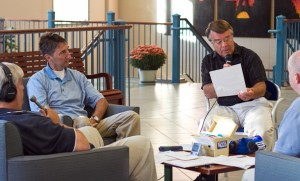 Jim Bishop interviews alumni during Homecoming and Family Weekend for a WSVA radio broadcast.