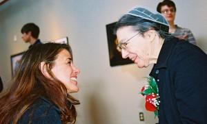 Dr. Margaret Gehman and former EMU professor Ingrid DeSanctis share a moment during the dedication of the Margaret Gehman Art Gallery.