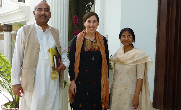 EMU professor Lisa Schirch with Pakistani graduates of EMU's masters program in conflict transformation, Ali Gohar (l.) and Jennifer Jag Jivan (right).
