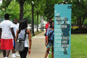 Students walking through Kelly Ingram Park.  Image courtesy Karen Elliott Greisdorf.