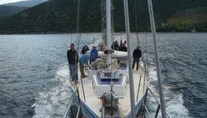 Students from the 2011 Christian Movement in the Mediterranean sail out of a small port in Greece.