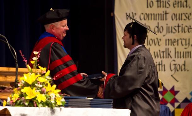 Aaron receives diploma