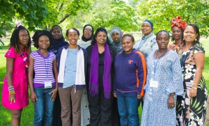 (Left-to-right): Gwendolyn Myers, Windor Dorko, Asli Ahmed Mohamoud, Philma Zaku, Amina Hassan, Priscilla Singh, Hibo Ismail Mohamed, Jerolie Belabulie, Amal Yasin Ibrahim, Vaiba Flomo, Grace Jarsor and Alita Waqabaca. Photo by James Souder.