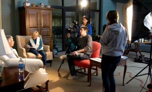 Students from EMU's Visual and Communication Arts department interviewed friends and family of Dan Terry for the documentary. Photo provided by MennoMedia.