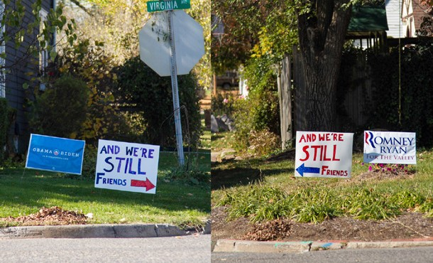 We're Still Friends political signs of EMU alumni families