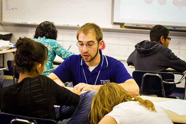EMU education graduate Steven Rittenhouse in his classroom at Thomas Harrison Middle School in Harrisonburg, Va.
