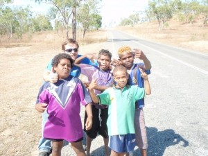 Jeff Allen with children from an Aboriginal community in Cape York Peninsula, Australia.