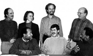 "Renowned Colombian peace activist Ricardo Esquivia is seated at left, beside John Paul Lederach, at a ""strategic planning"" meeting in 1995 to discuss the work of the fledgling Conflict Transformation Program at EMU, now known as the Center for Justice and Peacebuilding."