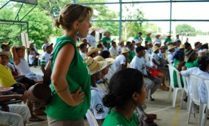 Larissa Zehr, a 2011 graduate serving with the SEED program of Mennonite Central Committee in Colombia, listens to regional governor Juan Carlos Gossain make promises (unkept after five months) to the protesting farmers in an effort to quiet them. (Photo courtesy Larissa Zehr)
