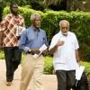 Strategizing with former UN General Secretary Kofi Annan      during the Kenyan political mediation