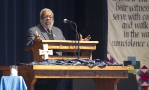 Vincent Harding speaking at university chapel on Friday, Feb. 28. (Photo by Lindsey Kolb)