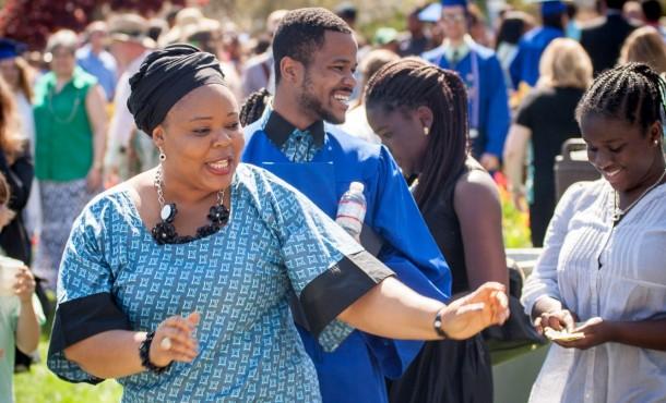 Leymah Gbowee and Joshua Mensah