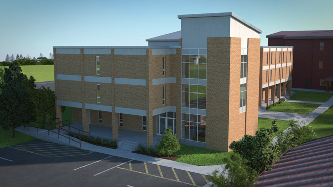 This is an architectural rendering of Roselawn after all of the planned renovations are completed. In 2014-15, the first floor of Roselawn will continue to serve the students, faculty and staff of the Intensive English Program. The two upper floors will house a large-sized classroom, medium-sized classroom, seminar room, gathering area, and offices.