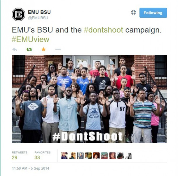 EMU Black Student Union members organize a #DontShoot photo in a show of support.