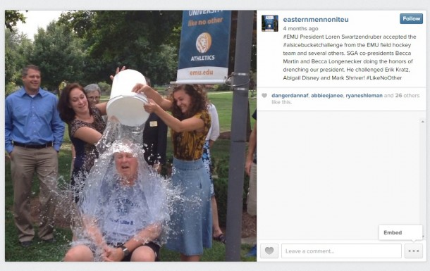 EMU President Loren Swartzendruber participated in the #IceBucketChallenge. The challenge involves dumping a bucket of ice water on someone's head to promote awareness of the amyotrophic lateral sclerosis (ALS) disease.