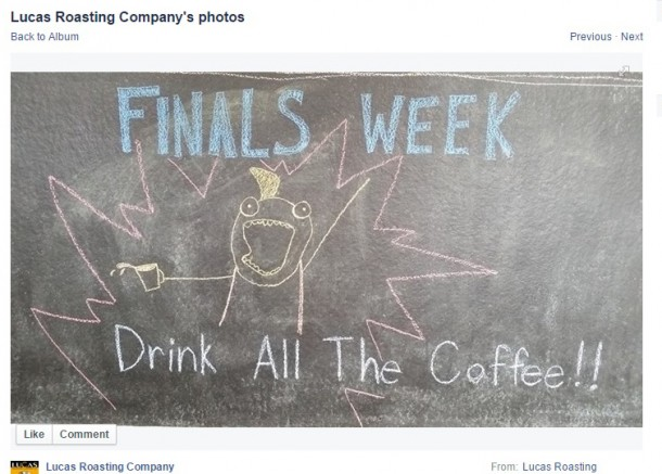 It was finals week during the fall semester and the staff at Common Grounds Coffeehouse did their best to motivate EMU students.