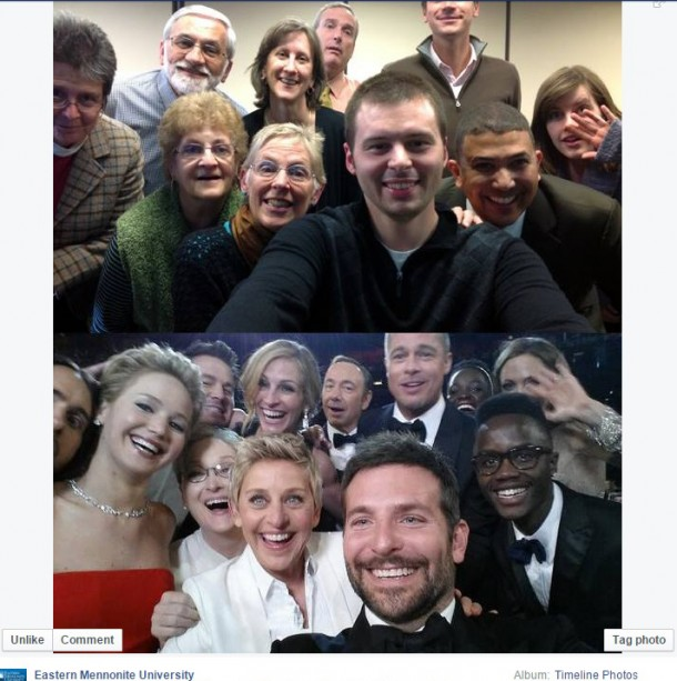 EMU faculty and staff produced their own selfie in recognition of the Oscars.