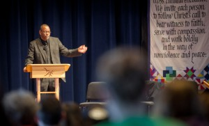 Rev. Dr. Nikita Okembe-Ra Imani speaking to EMU students, faculty and staff at university chapel on Monday, Jan. 19. (Photo by Michael Sheeler)