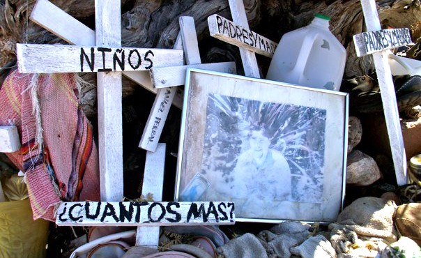 At a known sanctuary where several migrant trails intersect on their way towards Tucson and beyond, migrants have constructed a shrine to commemorate loved ones lost along the way. This photo was taken by senior nursing student Zach Coverdale during one of his trips into the desert to provide food, water and care to those in need.