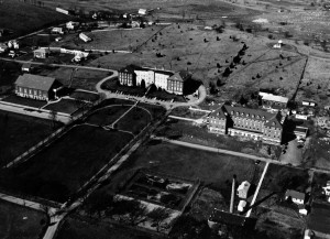 Campus grounds in the early 1950s.